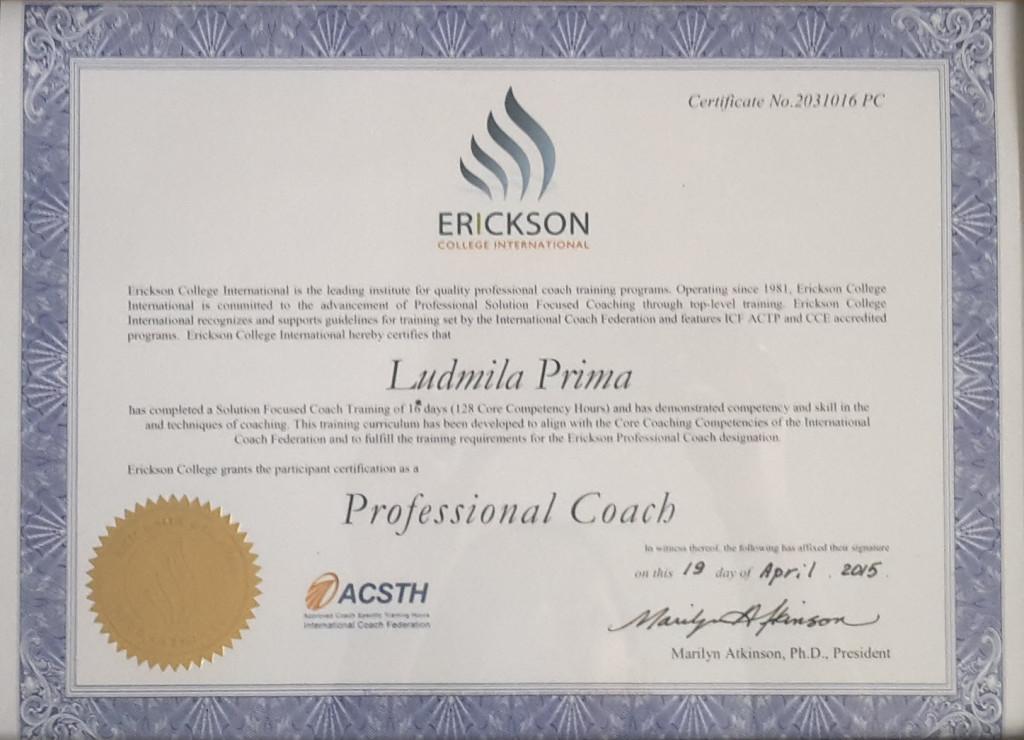 сертификат профессионального коуча людмила прима